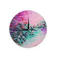 """Ebi Emporium """"Romantic Getaway"""" Pink Teal Wall Clock"""