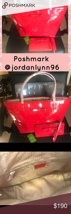 "New Kate Spade Double Bundle Deal! New Authentic Kate Spade DOUBLE BUNDLE Deal!!!                      Purse Details: Red Patent Leather. Dual flat shoulder straps. Bow accent at front. Tan woven lining. 3 inside pockets. Zip Closure. Please note the purse is brand new, but tag has fallen off. Wristlet is brand new w/o tag.  Purse Measurements: Shoulder Strap Drop 7.5"", Height 10"", Width 18"", Depth 5.5"" 🚫TRADES🚫Low Offers🚫 Please refer to Reasonable Offer Chart❣@jordanlynn96 kate spade…"