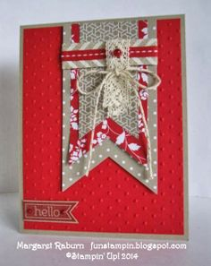 """Fun Stampin' with Margaret!  Banner Framelits, Fresh Prints Paper Stack, Neutrals DSP Pack, Baker's Twine with Silver, Chevron and 1/4"""" Red ..."""
