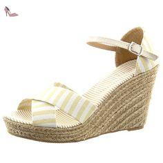 Sopily - Chaussure Mode Espadrille Sandale Plateforme hauteur cheville femmes corde Lignes Talon compensé plateforme 9.5 CM - Beige - WL-P75 T 40 - Chaussures sopily (*Partner-Link)