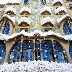 """Stamp #573 - Spain: The Wonders of Barcelona! Barcelona is a modern  fresh city that surprise by her arquitecture. The place I loved the most was definitely the """" Basilica of Sagrada Familia """" just I was wordless. This picture is from """" Casa Batló""""  other Gaudi's fenomen! Full of color with this effect of snowballs  really interesting. Also don't forget to visit the casa milá  park guell art museums and of course Camp Nou ( it's huge and impressive! )  Thank you @svit.world for leaving your…"""