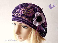 Lace Crochet Tam Dreads Hat Oversized Beret Slouchy Beanie Boho Women Girl Plum Purple Summer 2013 Cotton Vintage Style, $27.9