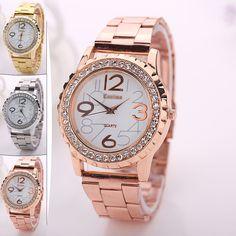 Shiny Rhinestone Crystal Gear Dial Womens Quartz Wrist Watch Fashion Gifts
