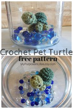 Crochet Pet Turtle is a safe way to teach little ones how to care for pets without the mess and commitment! The crochet pattern is free! #turtle #crochet #crocheting #crochetpattern #amigurumi #crochetturtle #pet #crochetanimals