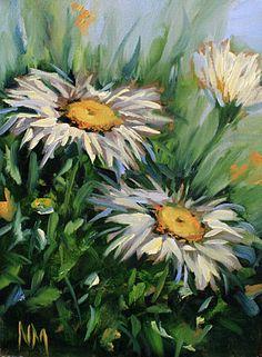 Wild Daisies of Carmel, CA, 6X8, oil on linen board. My third painting today! www.nancymedina.com