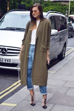 Khaki oversize cardigan coat ( the coatigan) styled simply and classically with a white tee, 'mum' jeans rolled slightly to highlight beautiful statement shoes