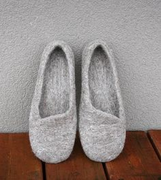 Women house shoes felted slippers Eco handmade made to by kadabros. , via Etsy.