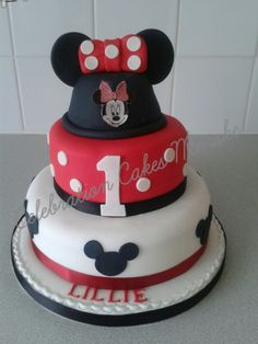 Red and white 2 tiered Minnie Mouse themed birthday cake