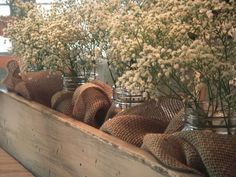 Centerpieces for long tables?  Wood, burlap, mason jars, baby's breath