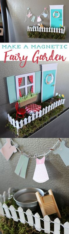 This is such a cool idea for a fairy garden... make one for your fridge! All the pieces have magnets on them so you can change out the scenes! A really fun, whimsical craft!