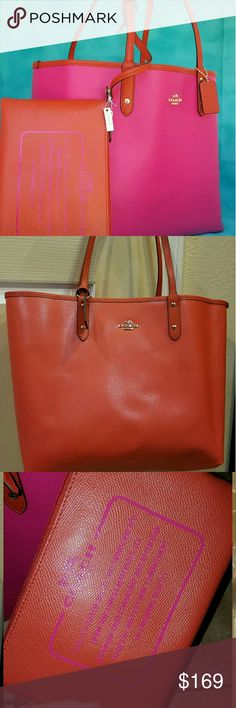 """COACH 2PC 33609 REVERSIBLE CITY TOTE PURSE +POUCH 2 bags in 1. totally reversible. includes matching xl travel pouch. hot pink and orange color.  BRAND NEW WITH TAGS. ORIGINAL PLASTIC PACKAGING FROM COACH. SOME WRAPPING WAS REMOVED FOR PHOTOS. SEE MY OTHER BRAND NEW TOTES.  *NWT F36609 Coach Reversible City Tote Handbag *Coated Canvas  *MSP: $350  *Coated Canvas  *Detachable Travel Pouch  *Reversible  *17 1/2"""" (L) x 11 1/2"""" (H) x 6 1/4"""" (W)  *Handles with 9 1/2"""" drop  Bags are 100%…"""