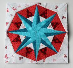 Paper piecing star pattern red aqua modern free