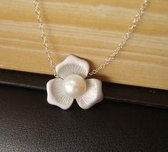 Personalized Pearl Necklace, Magnolia Necklace, Pearl Flower Necklace, Sister, Mom, Pearl Jewelry, Bridesmaid Jewelry on Etsy, $30.00