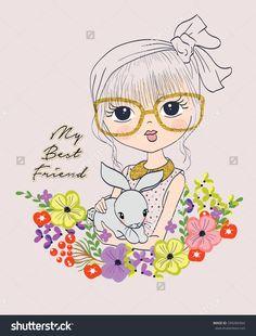 cute girl with rabbit Romantic Girl, Cute Girl Wallpaper, Rabbit Art, Cartoon Jokes, Woman Drawing, Girls With Glasses, Kids Prints, Cute Illustration, Cute Drawings
