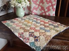 $36 Adorable Vintage 30s Feedsack Small Scale Bowtie Doll or Table QUILT Great Decor www.Vintageblessings.com