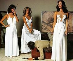 """Television ©: """"Charlie's Angels"""" (The original cast - Kate Jackson, Farrah Fawcett, and Jaclyn Smith). Kate Jackson, Jaclyn Smith, Cheryl Ladd, Farrah Fawcett, Charlies Angels, Good Morning Angel, Actrices Hollywood, Thing 1, White Maxi Dresses"""