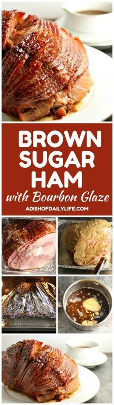 Brown Sugar and Beer Ham with Bourbon glaze Skip the glaze packet that came with your ham! This easy Brown Sugar Ham with Bourbon Glaze is perfect for Christmas and Easter! Easy Ham Recipes, Pork Recipes, Easy Meals, Cooking Recipes, Delicious Recipes, Bourbon Recipes, Dairy Recipes, Cajun Recipes, Easter Recipes