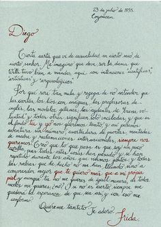 """Carta de Frida Kahlo a Diego Rivera """" Quiéreme tantito. Te adoro """""""