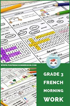 Grade 3 French morning work (petit travail du matin)  #frenchimmersion #forfrenchimmersion #travaildumatin #centresdelitteratie