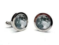 Full Moon Cuff Links Silver Tone Glass Dome Art by Lizabettas
