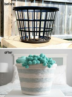 Dollar Store Organizing Ideas Lot's of simple and inexpensive ideas and tutorials including this DIY rope basket storage idea from 'I Heart Organizing'! Diy Toy Storage, Craft Room Storage, Basket Storage, Storage Ideas, Purse Storage, Storage Solutions, Yarn Storage, Clothes Storage, Laundry Storage