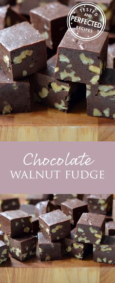 Chocolate Walnut Fudge - perfect recipe for Christmas gifts, snacks or desserts! Fudge Recipes, Candy Recipes, Chocolate Recipes, Dessert Recipes, Christmas Desserts, Christmas Baking, Christmas Gifts, Christmas Fudge, Walnut Fudge Recipe