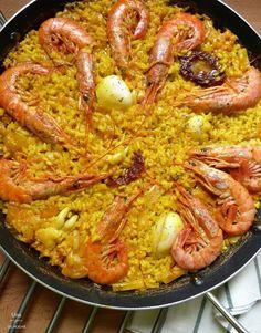 Receta de arroz meloso con gambas. Una receta típica con sabor mediterráneo.