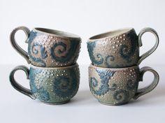 Set of FOUR Stoneware Mugs Starry Night Design by DiTerra on Etsy