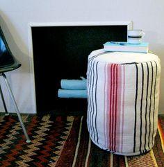 diy project: kate's ikea signe rug ottoman – Design*Sponge Diy Ottoman, Ottoman Design, Fabric Ottoman, Ottoman Stool, Ottoman Cover, Diy Home Crafts, Diy Home Decor, Diy Pouf, Ikea Rug