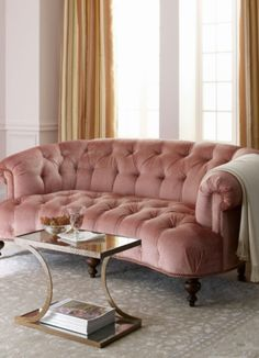 soft pink couch for a light decoration or combined with dark painted walls