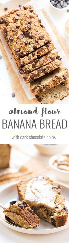 Almond Flour Chocolate Chip Banana Bread – Simply Quinoa This is the most INSANELY DELICIOUS Chocolate Chip Banana Bread and it's made with healthy ingredients — almond flour, quinoa flour, flax and more! Flours Banana Bread, Chocolate Chip Banana Bread, Chocolate Muffins, Chocolate Chips, Healthy Baking, Healthy Desserts, Healthy Treats, Healthy Recipes, Vegan Treats