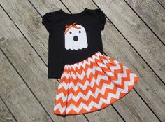 Girl's Toddlers Skirt and Shirt Personalized Halloween Outfit - Orange Chevron Skirt with Ghost Applique Shirt on Etsy, $28.00