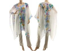 White linen gauze poncho caftan hand painted white linen