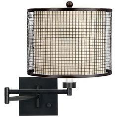 bronze mesh grid espresso plugin swing arm wall lamp