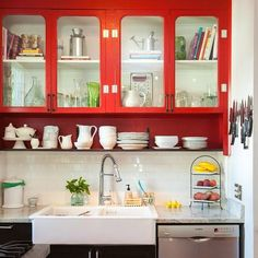 colourful cabinets, open shelf