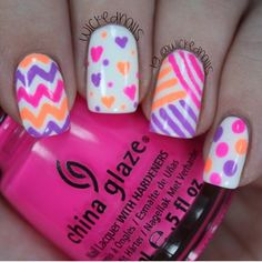Colorful Mix&Match Spring Nails. Hearts, Chevron, and Polka Nails. Pink, Purple, White, and Orange.