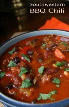 Southwestern BBQ Chili with Black Beans & Cilantro | Outta the Park ...