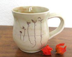Sprouts Mug  12 oz  Pear Tree Sprouts Mug  Botanical by JustMare