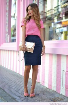 Pink polka dot tee and denim skirt
