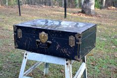Vintage Metal Trunk Suitcase Black Gold Tone Hardware Chippy