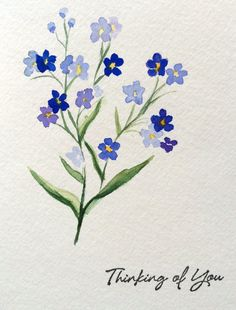 Watercolor Flowers Discover Hand painted Card Thinking of you Card Watercolor Cards Forget me not Handmade Card Simple Watercolor Flowers, Easy Flower Painting, Simple Flowers, Floral Watercolor, Drawing Flowers, Easy Flowers To Paint, Easy Flower Drawings, Art Floral, Watercolor Cards