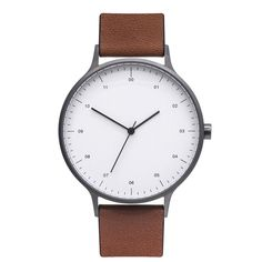 BIJOUONE B302 Gunmetal Grey Watch On Brown Leather Strap
