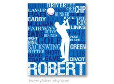 Golf Typography Art Print Perfect Sporty Boy's by twenty3stars, $10.00