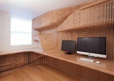 Amazing desk and office storage unit for a private home office design is created at Synthesis and named Chelsea Workspace. Unusual form and wood material make this customized home office design, that