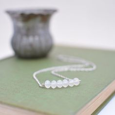 Silver Bar Necklace with Frosted White Czech Glass Beads Minimalist Necklace Everyday Necklace Handmade Necklace Bridal Necklace