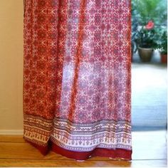 Rustic Red Tab Top Cotton Voile Window Curtain Panel