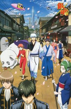 Gintama postcard official Japan Sakata Gintoki , Shimura Shinpachi , Kagura , Sadaharu , Okita Sougo , Hijikata Toushirou , Shimura Tae