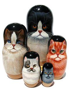 Cats 5pc nesting dolls
