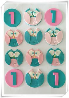 Set of 12 Owl Cupcake toppers by SugaryLand on Etsy