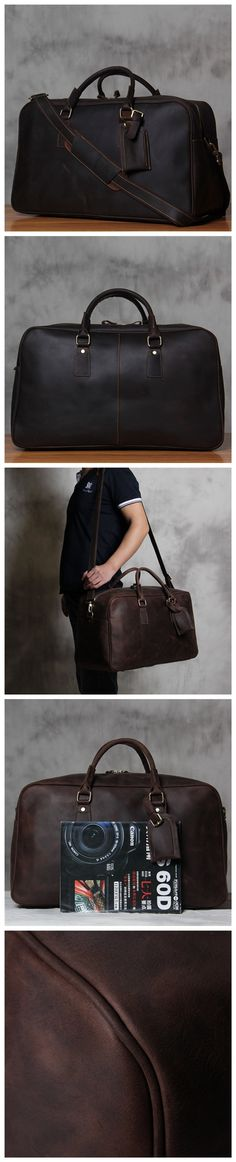 ROCKCOW Men's Crazy Horse Leather Weekender Duffel Bag Luggage Holdall